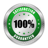 Grsatisfaction button with metallic border — Vector de stock