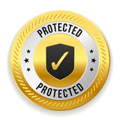 Gold protected badge — Stock Vector