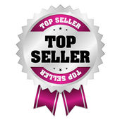 Silver purple top seller badge with ribbon — Vector de stock