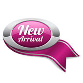New arrival button with metallic border — Vector de stock