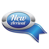 New arrival button with metallic border — Stock Vector