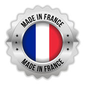 Round made in france badge with chrome border — Stock Vector