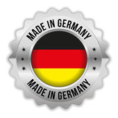 Round made in germany badge with chrome border — Stock Vector