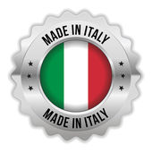 Round made in italy badge with chrome border — Stock Vector