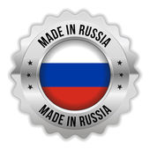 Round made in russia badge with chrome border — Stock Vector