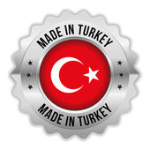 Round made in turkey badge with chrome border — Stock Vector