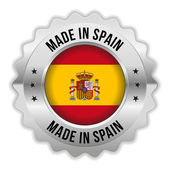 Round made in spain badge with chrome border — Stock Vector