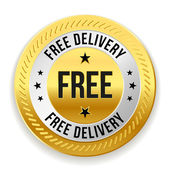 Gold free delivery badge — Stock vektor
