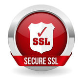 Red round ssl certified button — Stock Vector