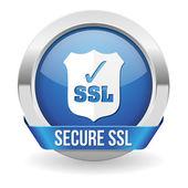 Blue round ssl certified button — Stock Vector