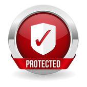 Rouge rond bouton protégé avec bordure métallique — Vecteur
