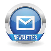 Round blue newsletter button — Stock Vector