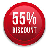 Red fifty-five percent discount button — Stock Vector
