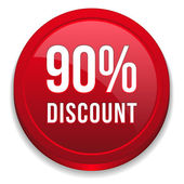 Red ninety percent discount button — Stock Vector