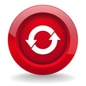 Red round button with arrow icon — Stock Vector
