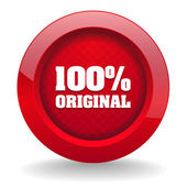 Red round button with original icon — Stock Vector