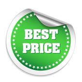 Green Round Best Price Sticker — Stock Vector