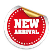 Red Round New Arrival Sticker — Stock Vector