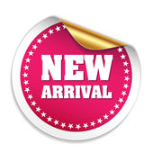 Purple Round New Arrival Sticker — Stockvector