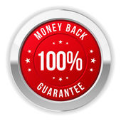 Hundred percent money back button — Stock Vector