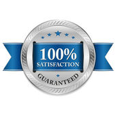 Metallic satisfaction badge — Vector de stock