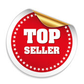 Top seller sticker with gold peel — Stock Vector