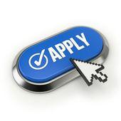 Apply button with metallic border — Stock Photo