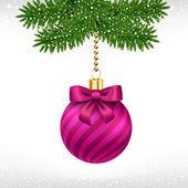 Bola de natal na árvore do abeto — Vetorial Stock