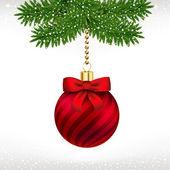 Christmas ball on fir tree — Stock Vector