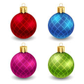 Christmas balls with stripes — Stock Vector