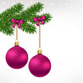 Christmas balls on fir tree — Stock Vector