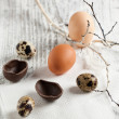 Royalty-Free Stock Photo: Quail, chicken and chocolate easter eggs