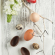 Quail, chicken and red easter eggs — Stock Photo