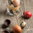 Quail, chicken and red easter eggs - Stock Photo