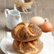 Fresh bread and eggs - Stock Photo