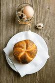 Fresh bread and eggs — Stock Photo