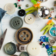 Collection of various buttons and pins — Stock Photo