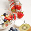Fruites mix with cream - Stockfoto