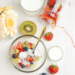 Fruit salad with cream and milk — Stock Photo