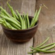 Green beans in ceramic bowl - 图库照片