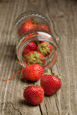 Topf mit frischen erdbeeren — Stockfoto