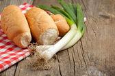 Fresh bread and onion — Stock Photo