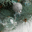 Silver christmas balls — Stock Photo #20032699