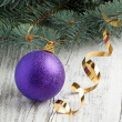 Violet christmas ball — Stock Photo