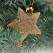 Golden christmas star - Stock Photo