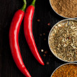 Red hot chili peppers and spices — Stock Photo