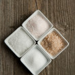Four kind of salt — Stock Photo