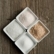 Stock Photo: Four kind of salt
