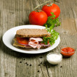 Plate with sandwich and tow kind of sauces — Stock Photo