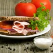 Plate with sandwich and tow kind of sauces — Stock Photo #20035801